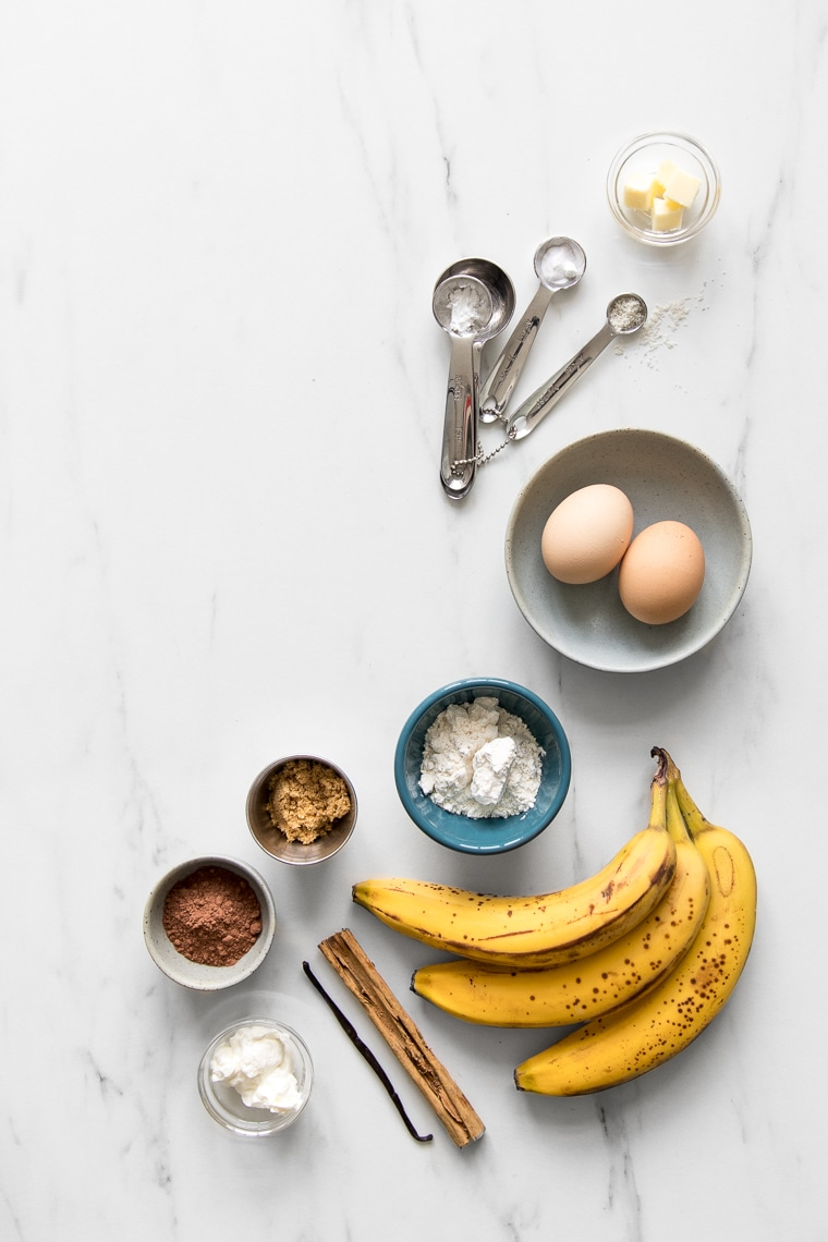 Ingredient for caramelized banana upside down cake