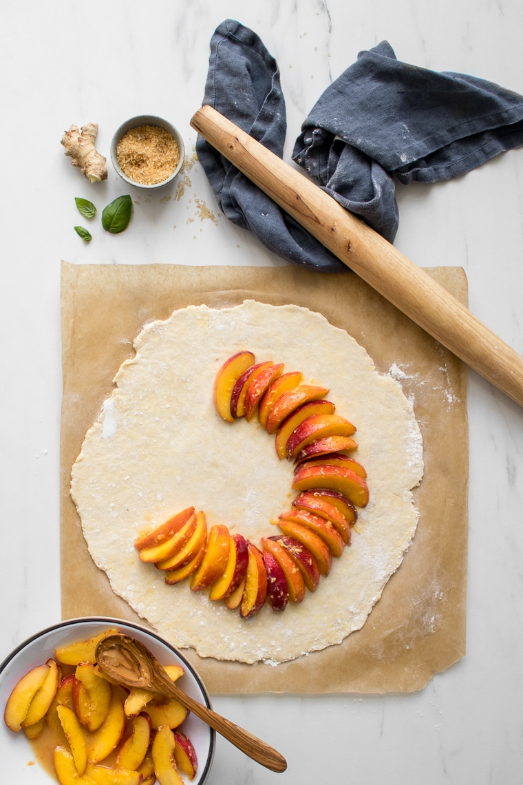 The start of the assembly of the peach galette