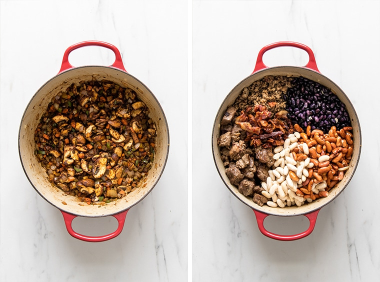 Two Images   Left, dutch oven with vegetables cooked down and right, dutch oven with meat and beans added