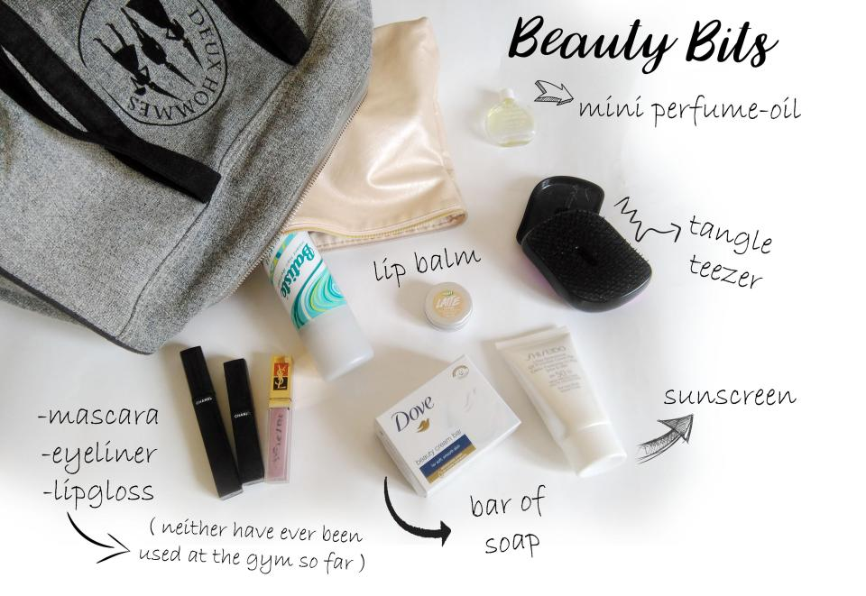whats in my gym beauty bag