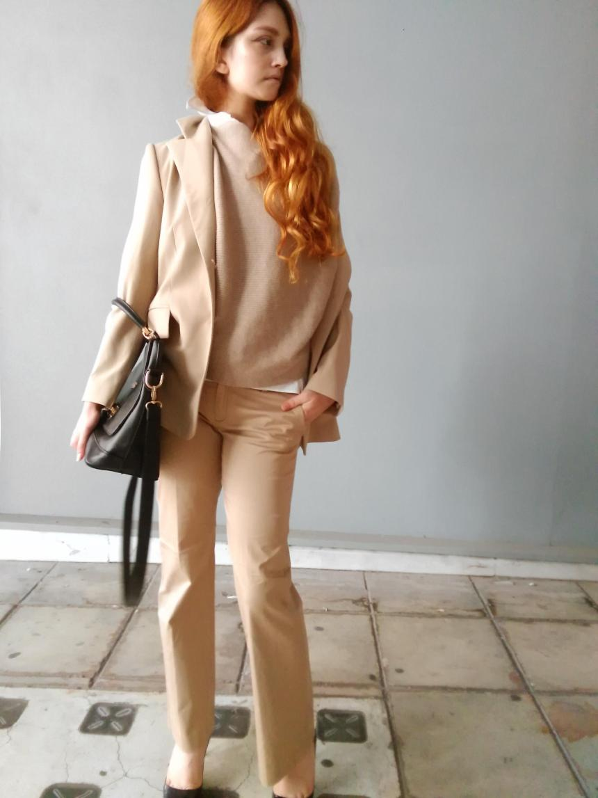 how to wear all blush pink beige outfits