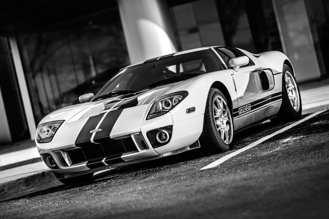 Black and white sports car
