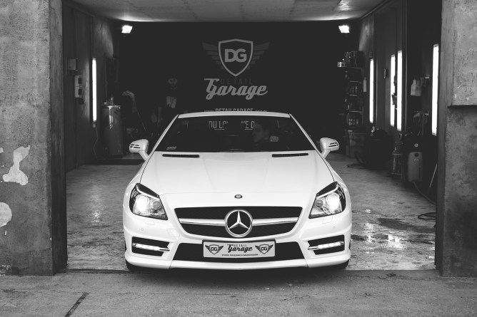 White car in a garage
