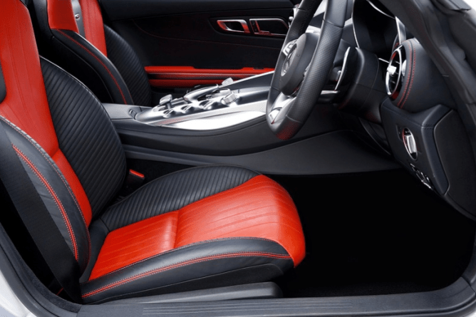 Red and black front car seat