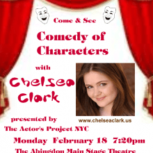 """Promo Postcards - Chelsea Clark in TAP NYC's """"Comedy of Characters"""""""