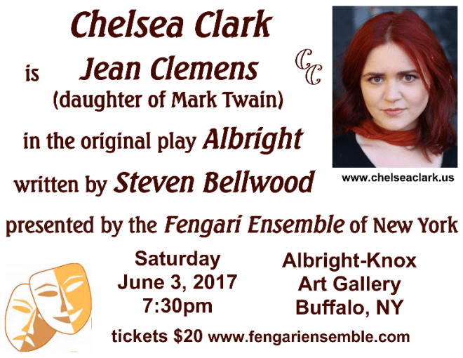 Chlesea Clark plays the role of Jean Clemens, youngest daughter of Mark Twain, in Steven Bellwood's ALBRIGHT, presented by The Fengari Ensemble, June 3, 2017 at the Albright-Knox Art Gallery in Buffalo, NY