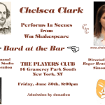 Chelsea Clark performs scenes at the Simon Studio's BARD AT THE BAR 2017, an annual event honoring William Shakespeare