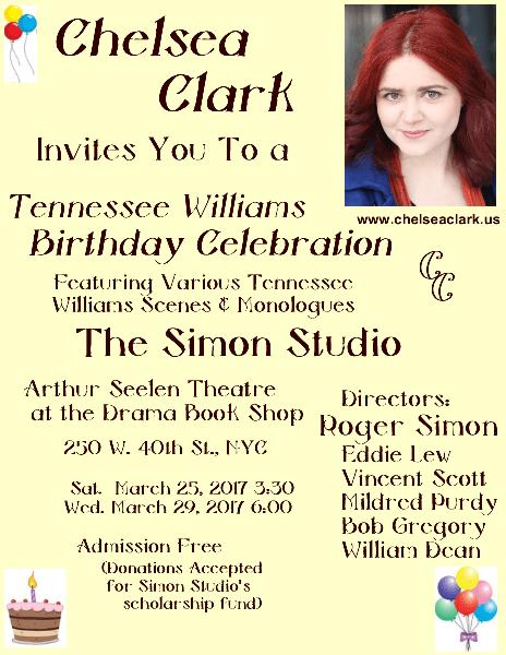 Chelsea Clark at the Simon Studio's 106th Tennessee Williams' Birthday Celebration