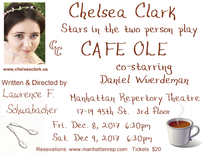 Chelsea Clark and Daniel Wuerdeman in Lawrence F. Schwabacher's CAFE OLE at Manhattan Repertory Theatre