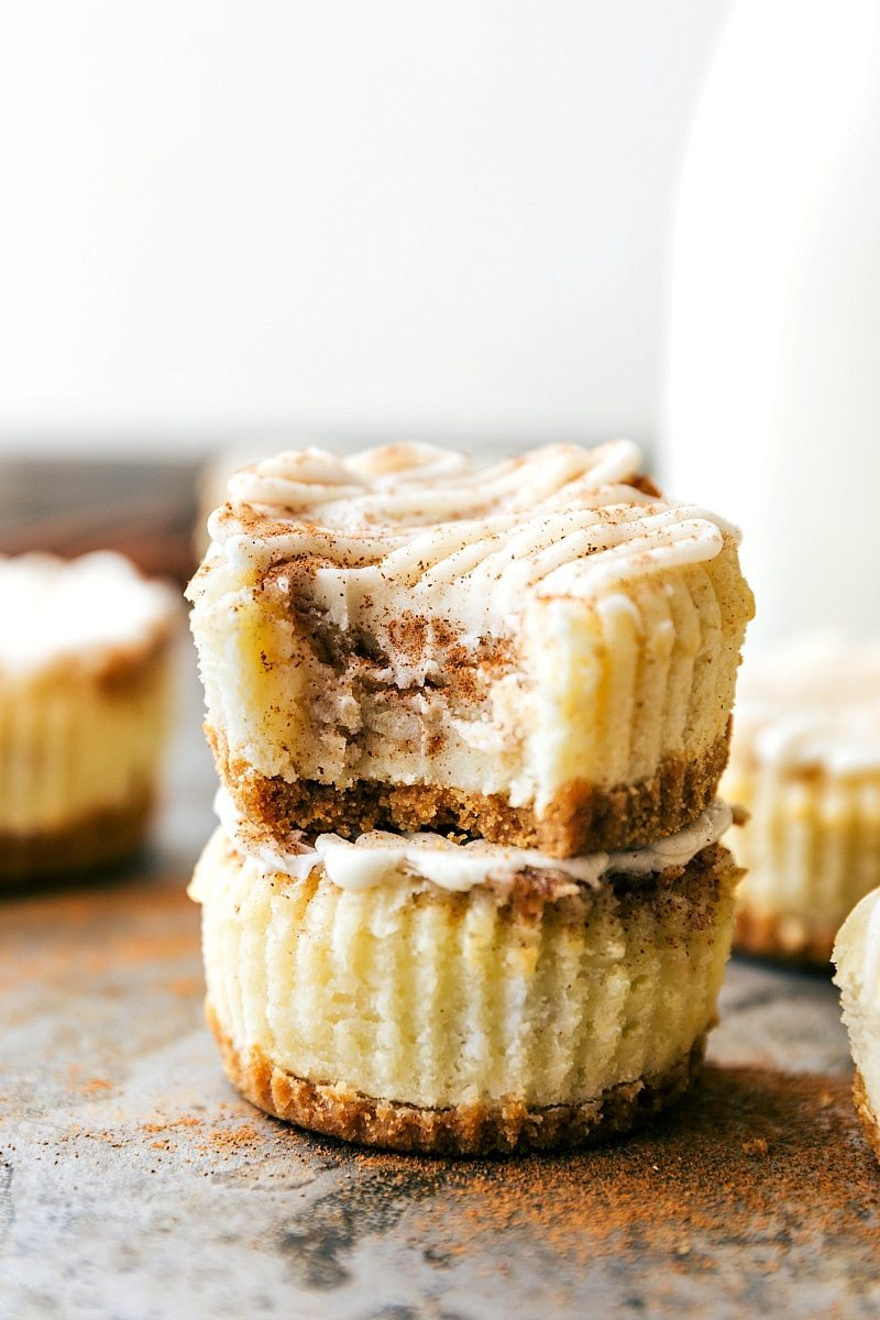 Miniature Cinnamon Roll Cheesecakes Dessert Recipe | Chelsea's Messy Apron
