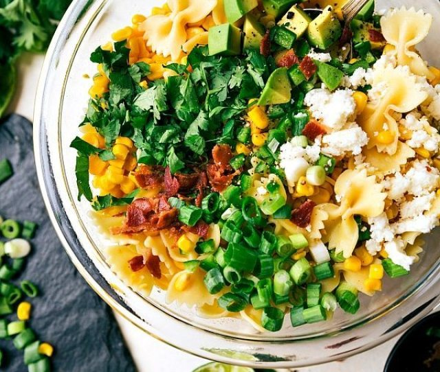 A Delicious Mexican Street Corn Pasta Salad With Tons Of Veggies Bacon