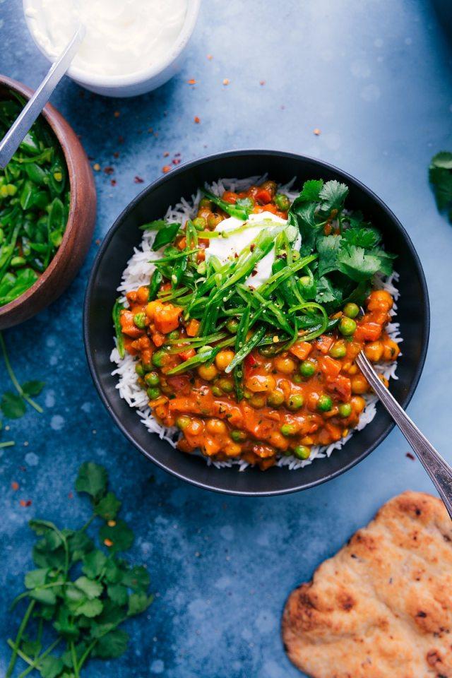 Overhead image of Vegetarian Tikka Masala in a bowl.
