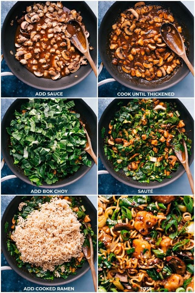 Process shots: adding sauce, bok choy and ramen to finish this recipe