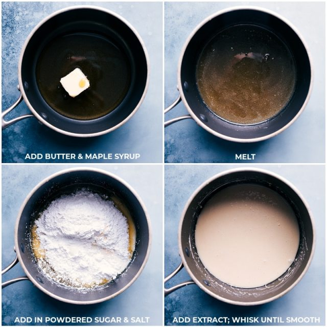 Process shots-- images of the icing being whisked together in a pot over the stove