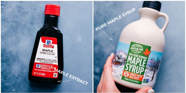 Ingredient shots-- images of the maple extract and maple syrup that's used in this dessert