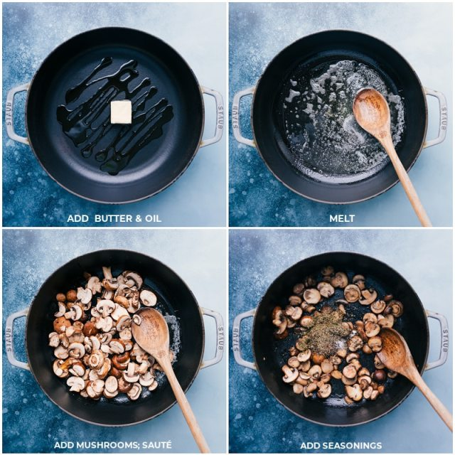 Process shots: browning the mushrooms