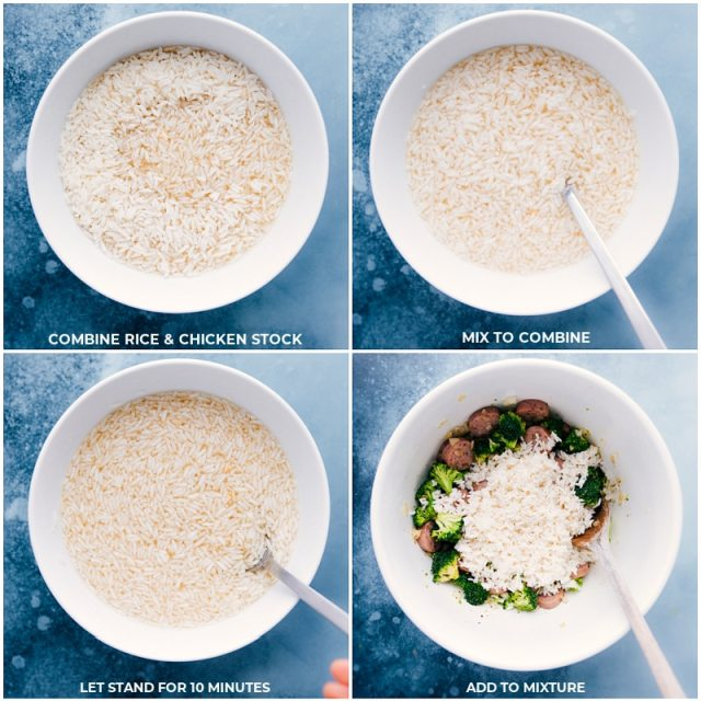Process shots: preparing the rice and adding it to the other ingredients