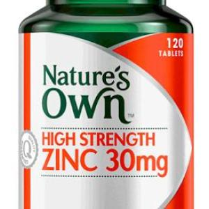 High Strength Zinc 30mg 120 Tablets – Natures Own