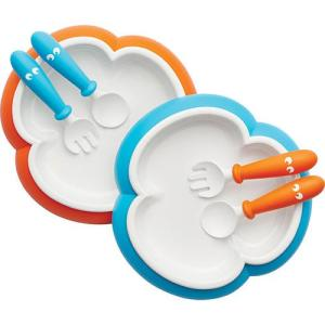 BabyBjorn Baby Plate, Spoon and Fork (Orange & Turquoise) 2 Sets