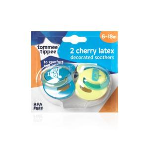 Tommee Tippee Cherry Latex Soother 6 to 18 Months X 2 (Assorted Designs/Colours)