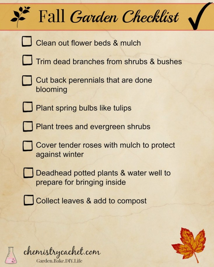 Fall Garden Checklist for busy people! Just the basic simple steps to keep your garden and yard going during winter chemistrycachet.com