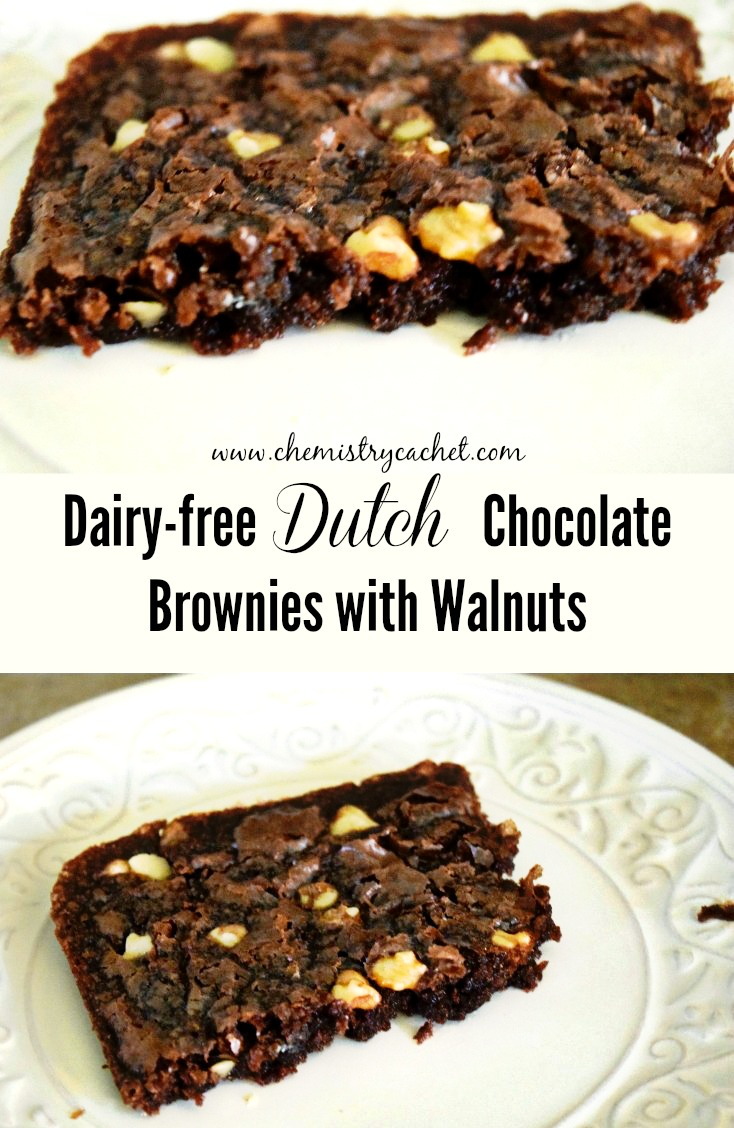Easy, delicious dairy-free dutch chocolate brownies with walnuts! on chemistycachet.com
