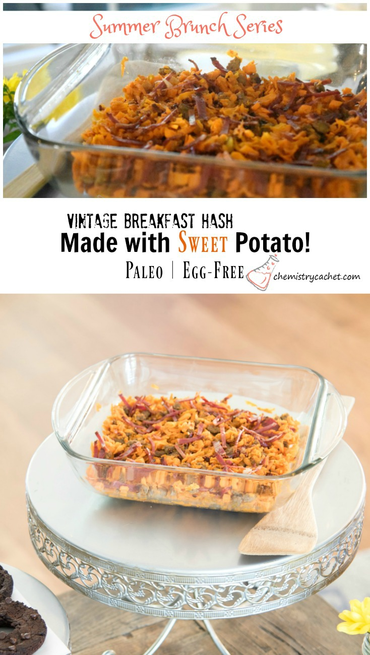 A delicious, easy sweet potato breakfast hash with turkey sausage, bacon is completely dairy-free, egg-free, AND gluten-free! This is part of a summer brunch series remake on chemistrycachet.com