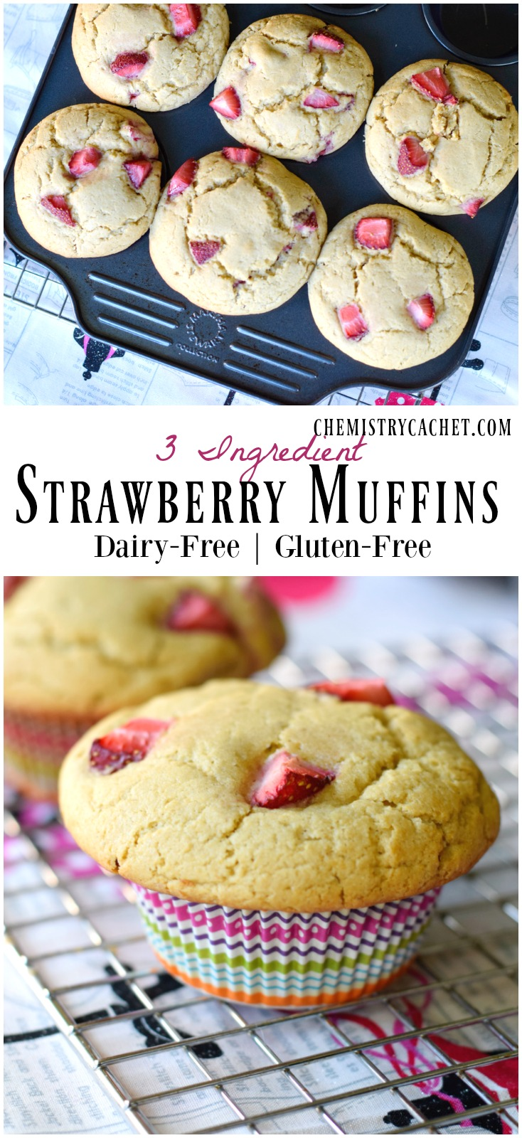 3 ingredient strawberry muffins that are totally allergy friendly! All with @enjoylifefoods muffin mix! Full details on chemistrycachet.com