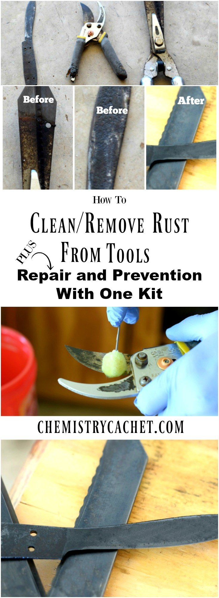 How to Remove Rust from Tools Plus Repairing and Preventing Rust with one simple kit! This is perfect for tools in REALLY bad shape. Tutorial on chemistrycachet.com