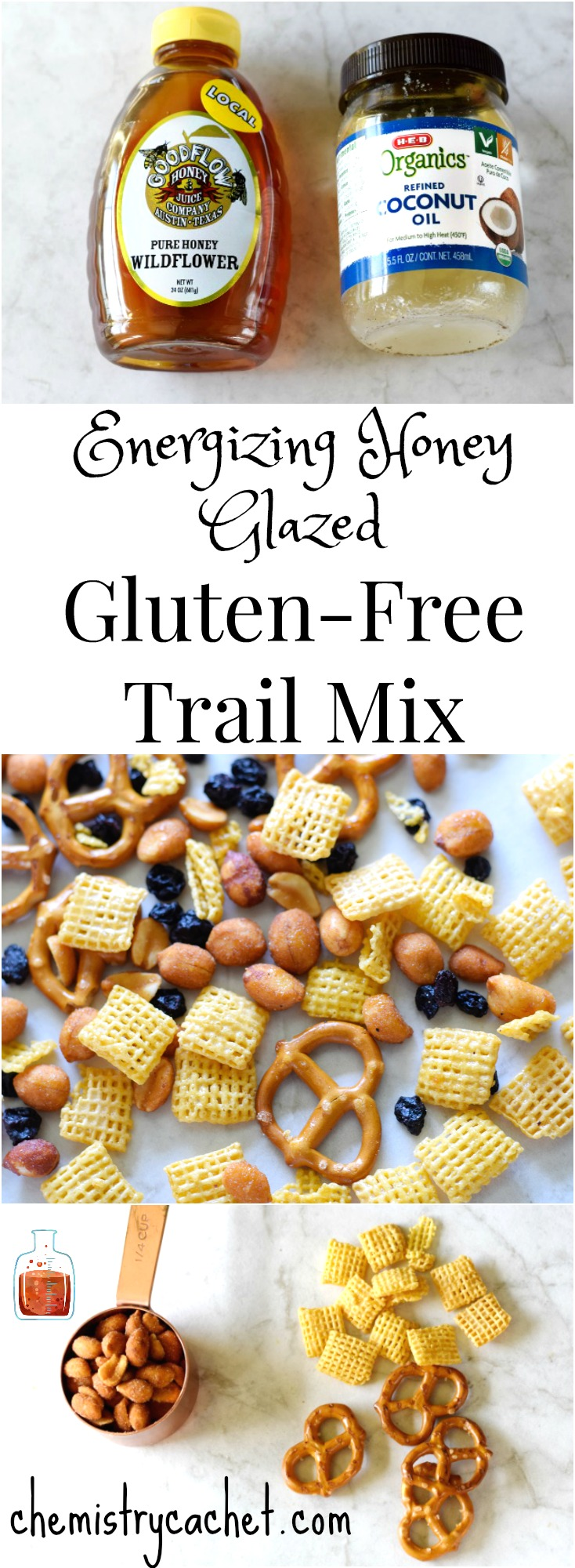 The Best Energizing Honey Glazed Gluten-Free Trail Mix. This gluten-free trail mix is so healthy and easy to make! on chemistrycachet.com
