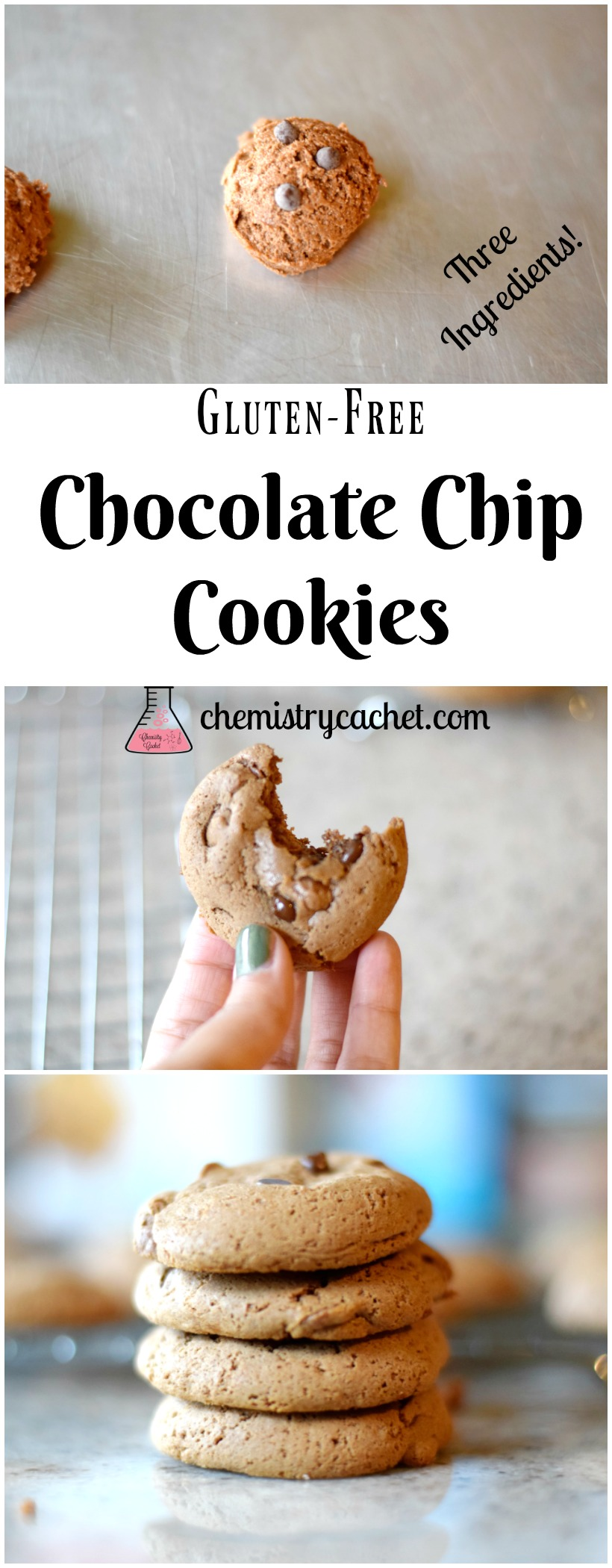 The Easiest Gluten-Free Chocolate Chip Cookies (Only 3 Ingredients!). Easy Gluten-Free Chocolate Chip Cookie Recipe on chemistrycachet.com