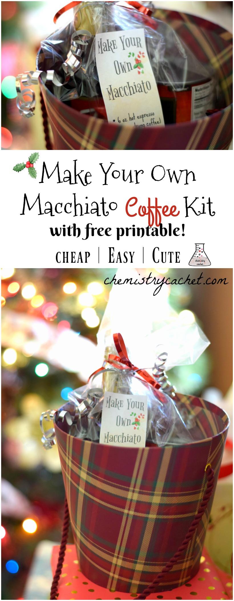 Make your own macchiato kit for christmas! Perfect christmas gift DIY, coffee kit DIY tutorial on chemistrycachet.com with free printable!
