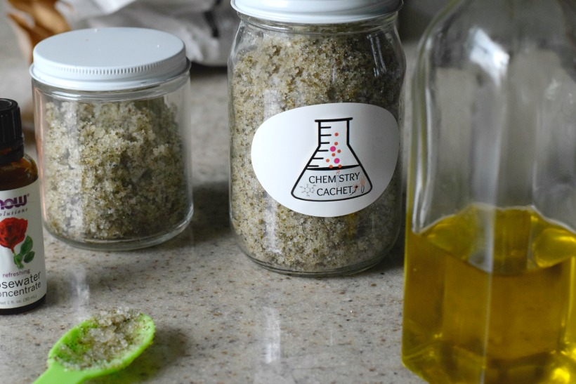 DIY green tea body scrub with rose infusions. Green tea scrub for your entire body. Details on chemistrycachet.com