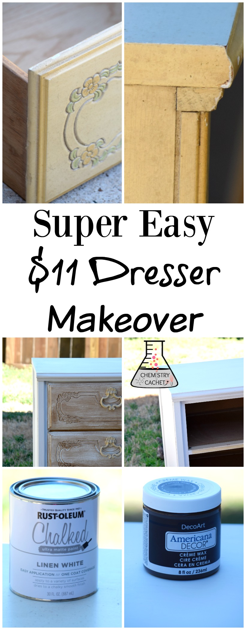 Super Easy Dresser Makeover for $11. Full tutorial on chemistrycachet.com
