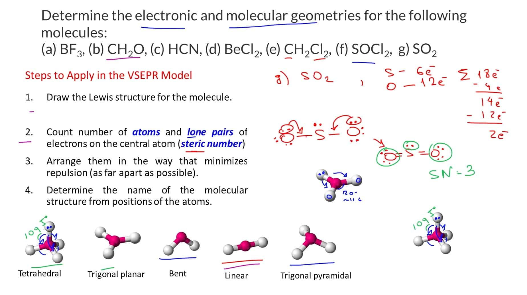 The Vsepr Theory To Predict The Electronic And Molecular Geometry