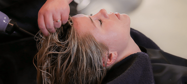 sulphate-free shampoo being used at a salon