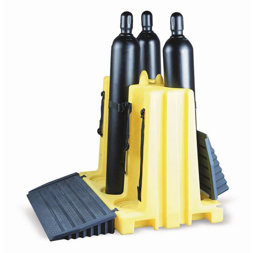 Six Poly Plastic Cylinder Rack Free Standing
