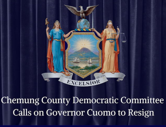 Image of New York state seal in front of dark blue curtains with the words Chemung County Democratic Committee calls on Governor Cuomo to resign