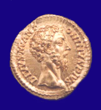 Gold aureus of Emperor Commodus in the Government Museum, Chennai (Madras)