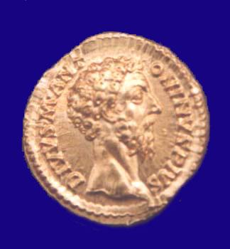 Gold aureus of Emperor Commodus in the Government Museum, Chennai (Madras)
