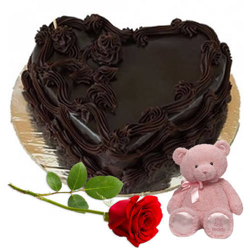 Buy heartshape cake online in various flavours like heartshaped black forest vanilla cake, heart shaped chocolate cake, etc. Teddy N Heart Shaped Chocolate Cake With Rose To Chennai Free Shipping