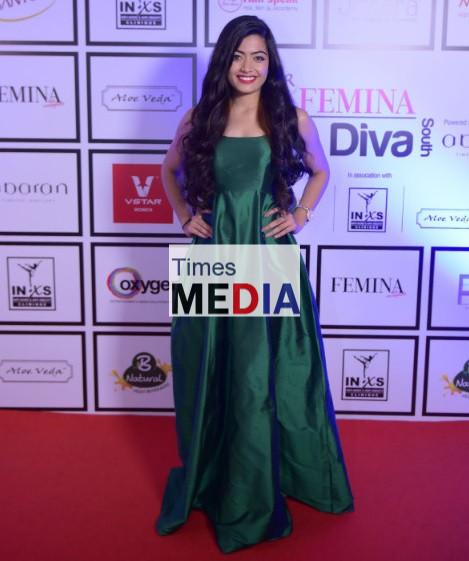 Kannada Actor Rashmika Mandanna looks gorgeous at the Santoor Femina Style Diva South at the Movenpick Hotel in Bengaluru