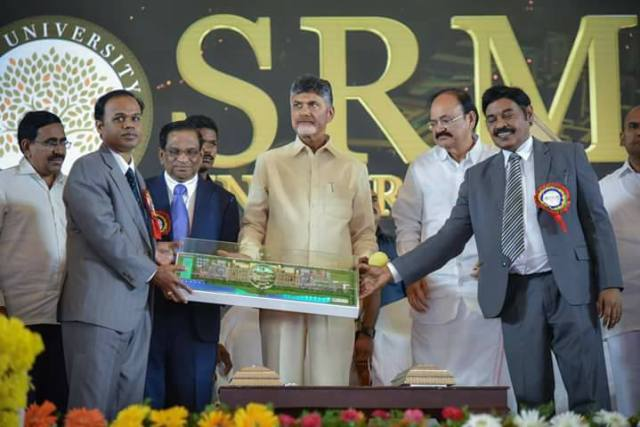 CM Mr. N. Chandra Babu Naidu while inaugrating with campus with other dignitaries