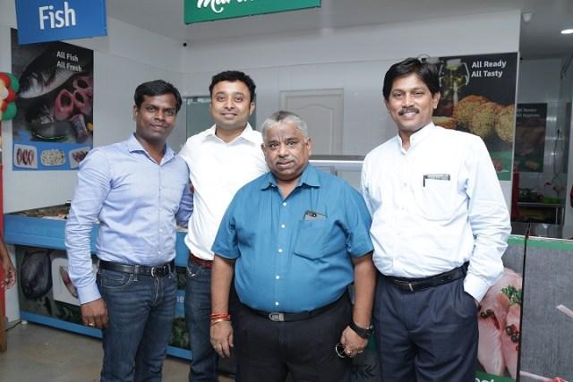 Mr. Nishanth Chandran, CEO, TenderCuts with Dr. Chef Dhamu & Dr. V Pasupathy (R) during the TenderCuts Valasaravakkam Store Launch