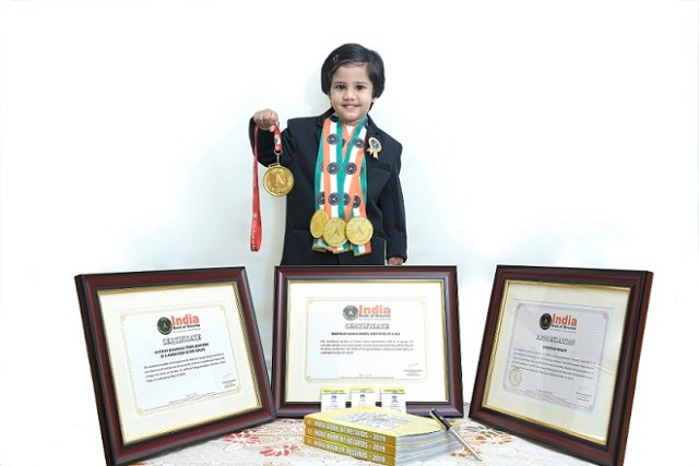 PreKG student felicitated for creating INDIA BOOK OF RECORDS