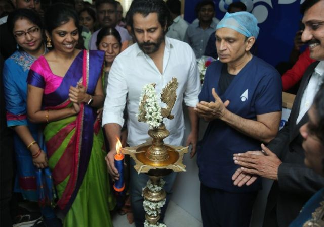 Actor Vikram at  agarwal eye hospital inauguration Kodambakkam