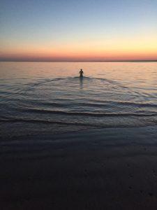 sunset swim on the Isle of Wight
