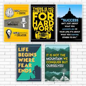 Designer Wall Poster for Decoration Home, Offices & Shops | Big Size (45 cm x 30 cm) | HD Prints | Combo Pack of 10 | Multicolor Print | 300 Paper GSM