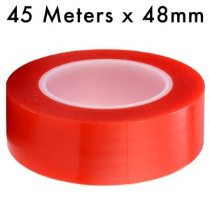 RED Strong Acrylic Transparent Adhesive - Double Sided Heat Resistant - (Polyester Tape) - 45 Meters in Length - 48mm Width