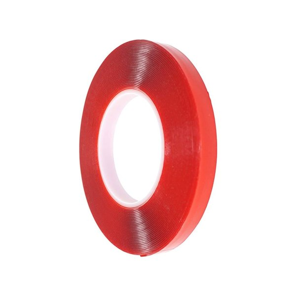 RED Strong Acrylic Transparent Adhesive - Double Sided Heat Resistant - (Polyester Tape) - 45 Meters in Length - 06mm Width